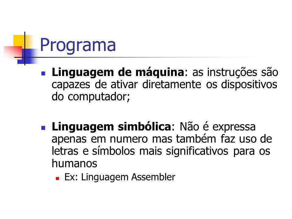 Programa Linguagem de máquina: as instruções são capazes de ativar diretamente os dispositivos do computador;