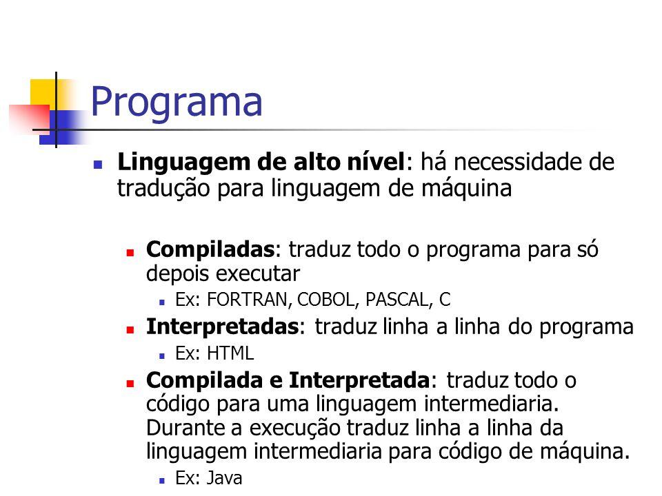 ProgramaLinguagem de alto nível: há necessidade de tradução para linguagem de máquina. Compiladas: traduz todo o programa para só depois executar.