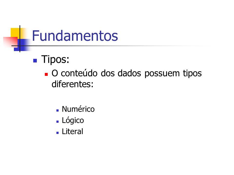 Fundamentos Tipos: O conteúdo dos dados possuem tipos diferentes: