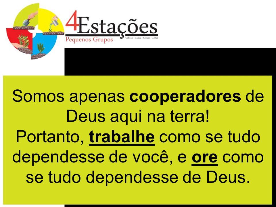 Somos apenas cooperadores de Deus aqui na terra