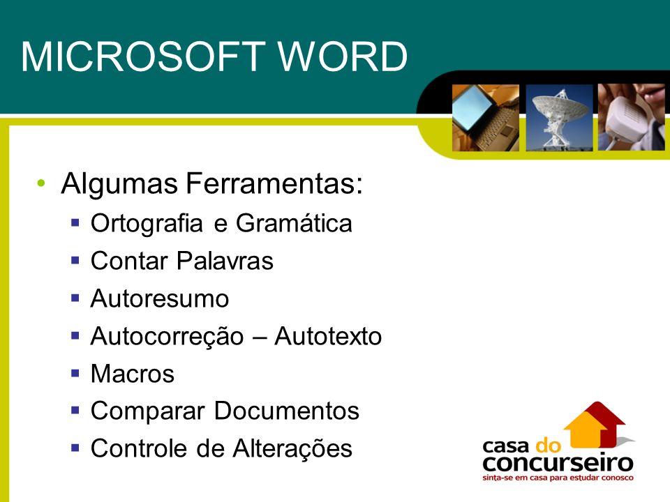 MICROSOFT WORD Algumas Ferramentas: Ortografia e Gramática