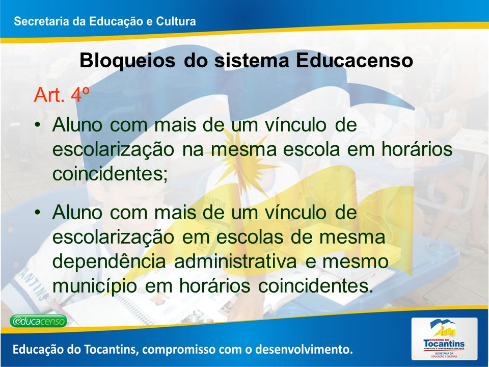 Bloqueios do sistema Educacenso