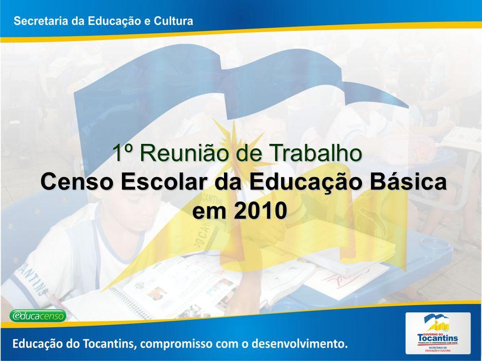 1º Reunião de Trabalho Censo Escolar da Educação Básica em 2010