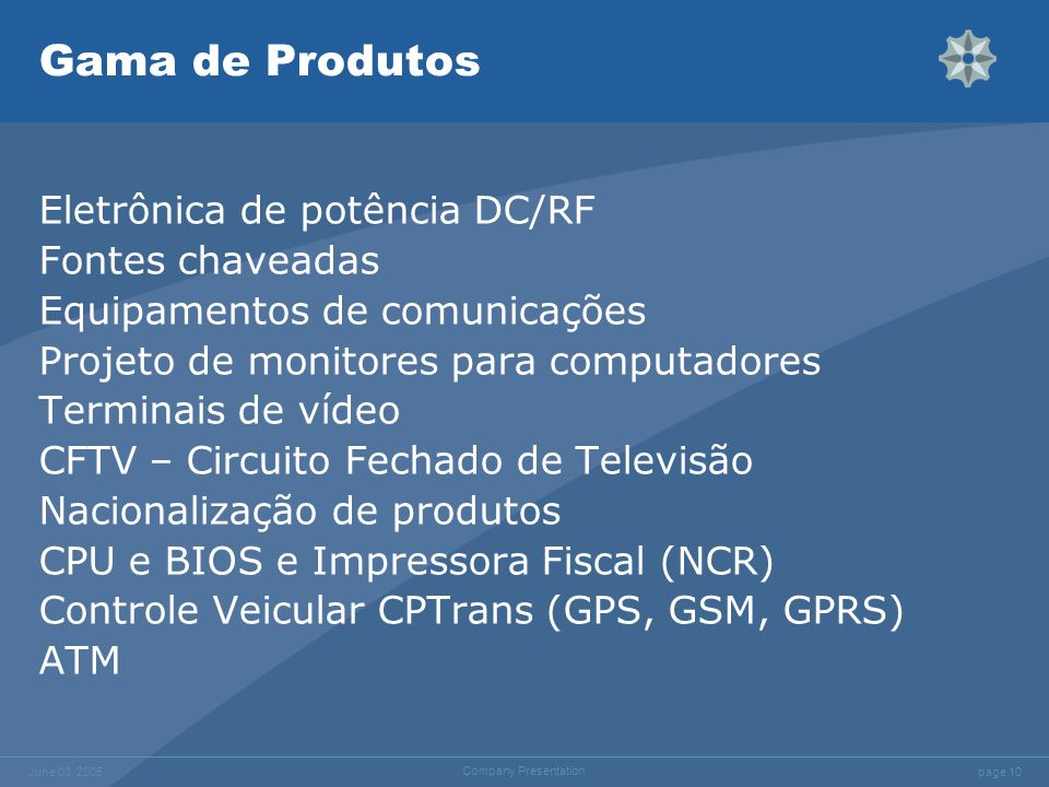 Gama de Produtos Eletrônica de potência DC/RF Fontes chaveadas