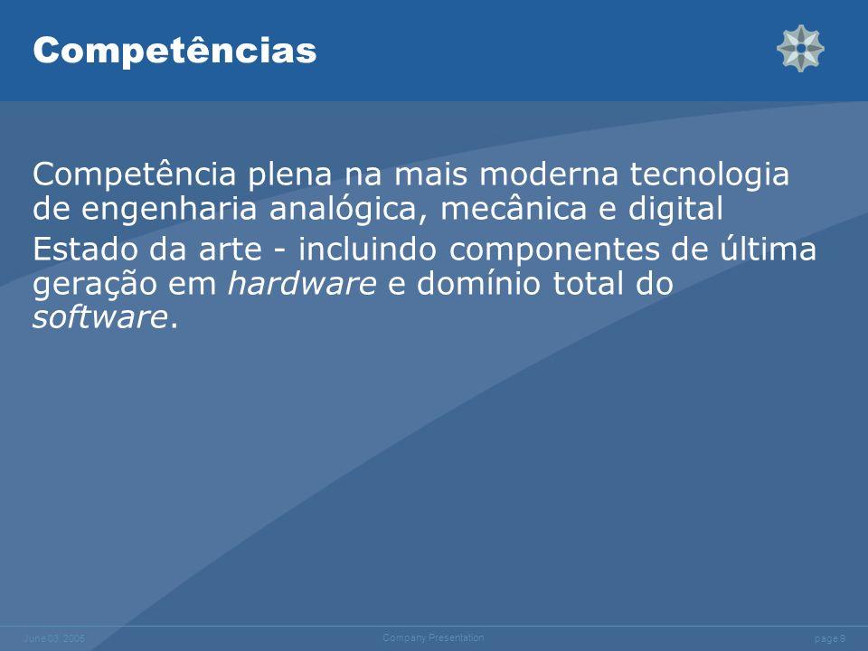 Competências Competência plena na mais moderna tecnologia de engenharia analógica, mecânica e digital.