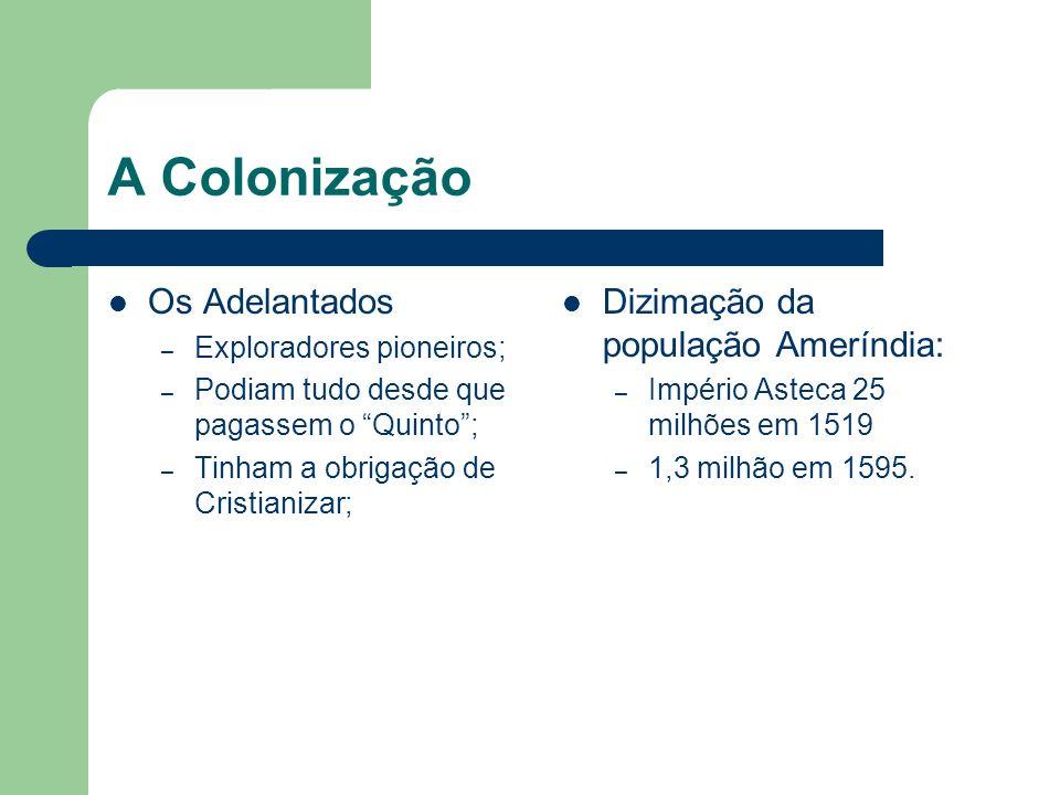 A Colonização Os Adelantados Dizimação da população Ameríndia: