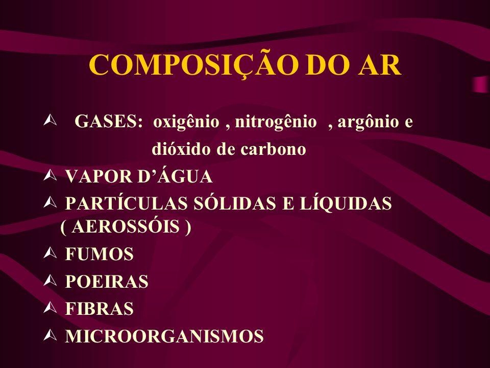 COMPOSIÇÃO DO AR GASES: oxigênio , nitrogênio , argônio e