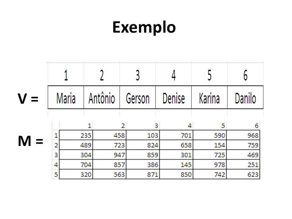 Exemplo V = M =