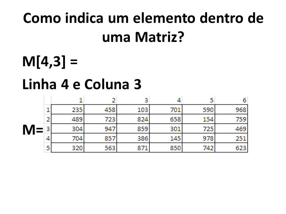 Como indica um elemento dentro de uma Matriz