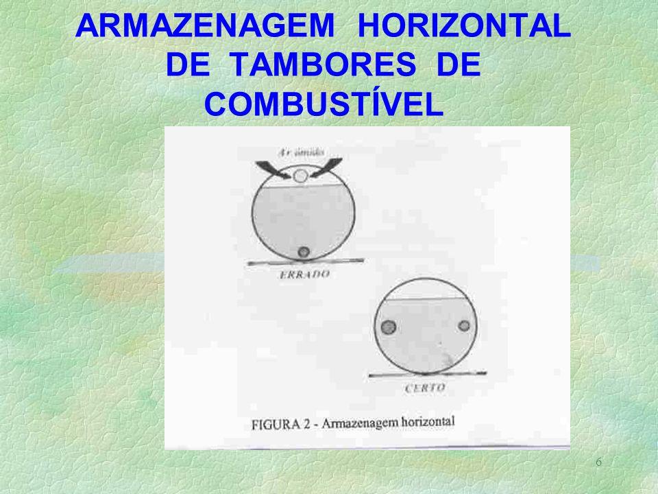 ARMAZENAGEM HORIZONTAL DE TAMBORES DE COMBUSTÍVEL