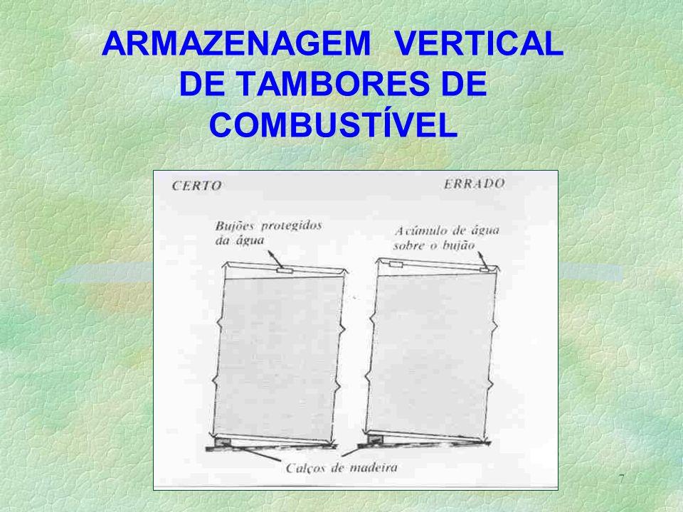 ARMAZENAGEM VERTICAL DE TAMBORES DE COMBUSTÍVEL