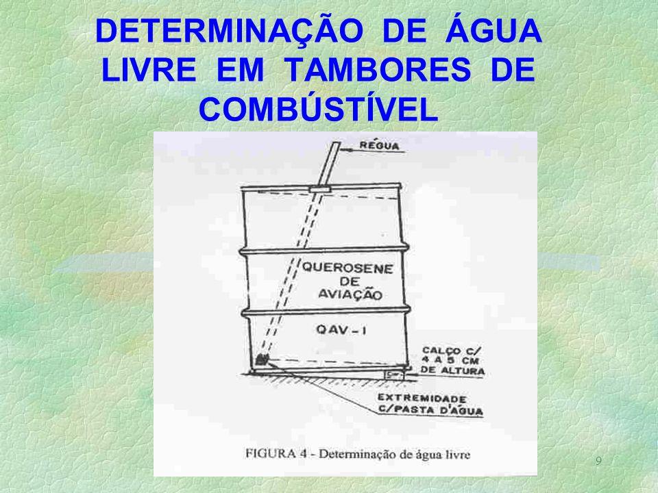 DETERMINAÇÃO DE ÁGUA LIVRE EM TAMBORES DE COMBÚSTÍVEL