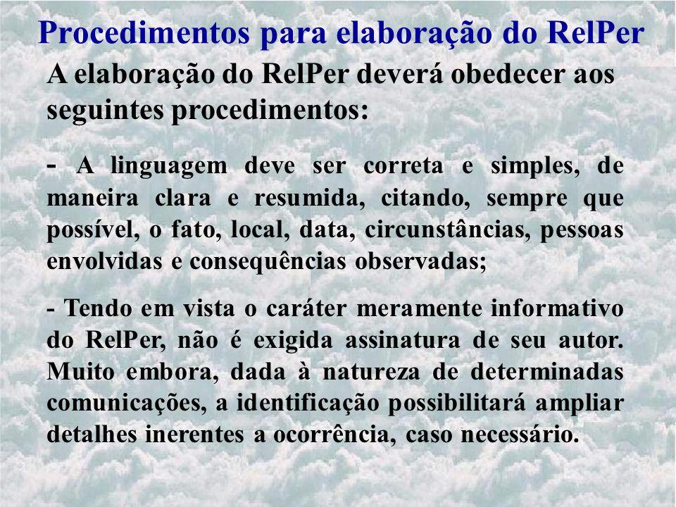 Procedimentos para elaboração do RelPer