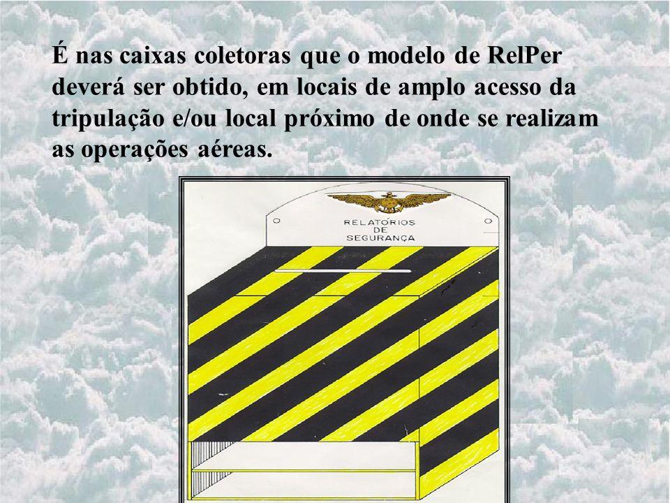 É nas caixas coletoras que o modelo de RelPer deverá ser obtido, em locais de amplo acesso da tripulação e/ou local próximo de onde se realizam as operações aéreas.