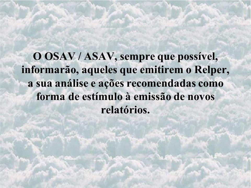 O OSAV / ASAV, sempre que possível, informarão, aqueles que emitirem o Relper, a sua análise e ações recomendadas como forma de estímulo à emissão de novos relatórios.