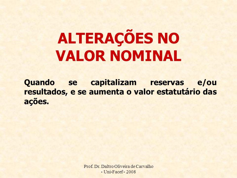 ALTERAÇÕES NO VALOR NOMINAL