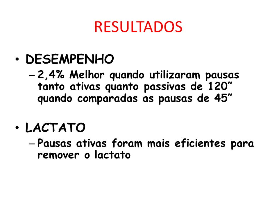 RESULTADOS DESEMPENHO LACTATO