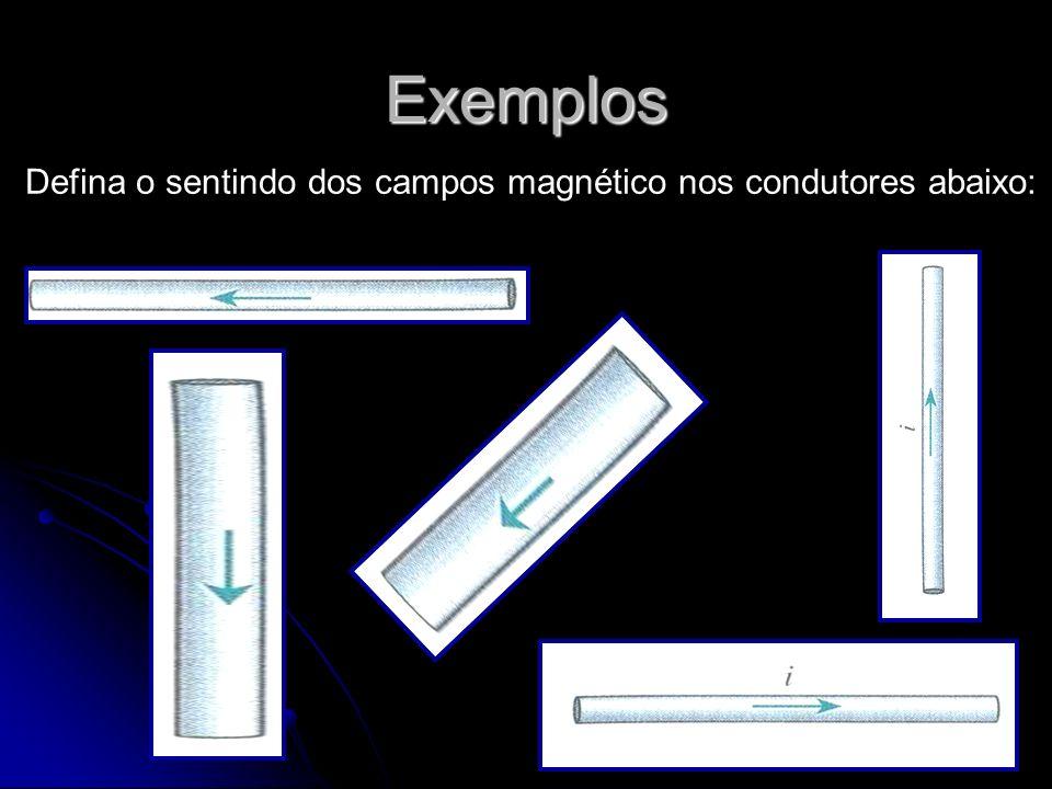 Exemplos Defina o sentindo dos campos magnético nos condutores abaixo: