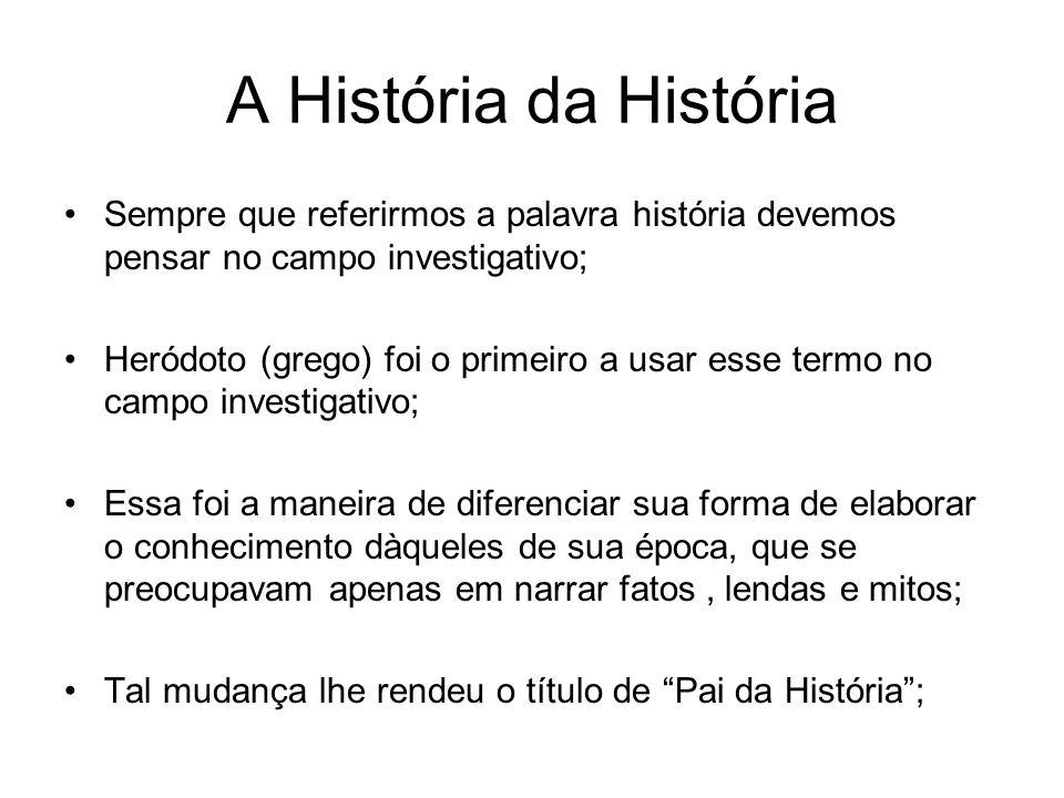 A História da História Sempre que referirmos a palavra história devemos pensar no campo investigativo;