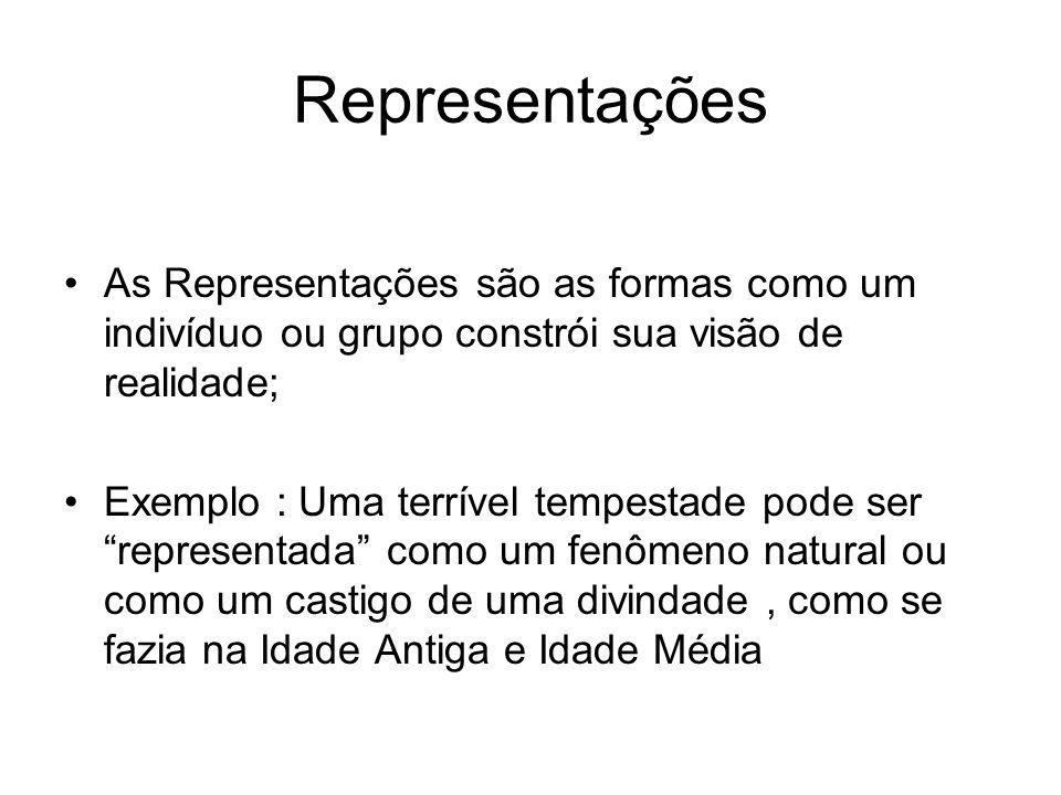 Representações As Representações são as formas como um indivíduo ou grupo constrói sua visão de realidade;