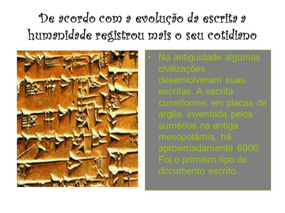 De acordo com a evolução da escrita a humanidade registrou mais o seu cotidiano