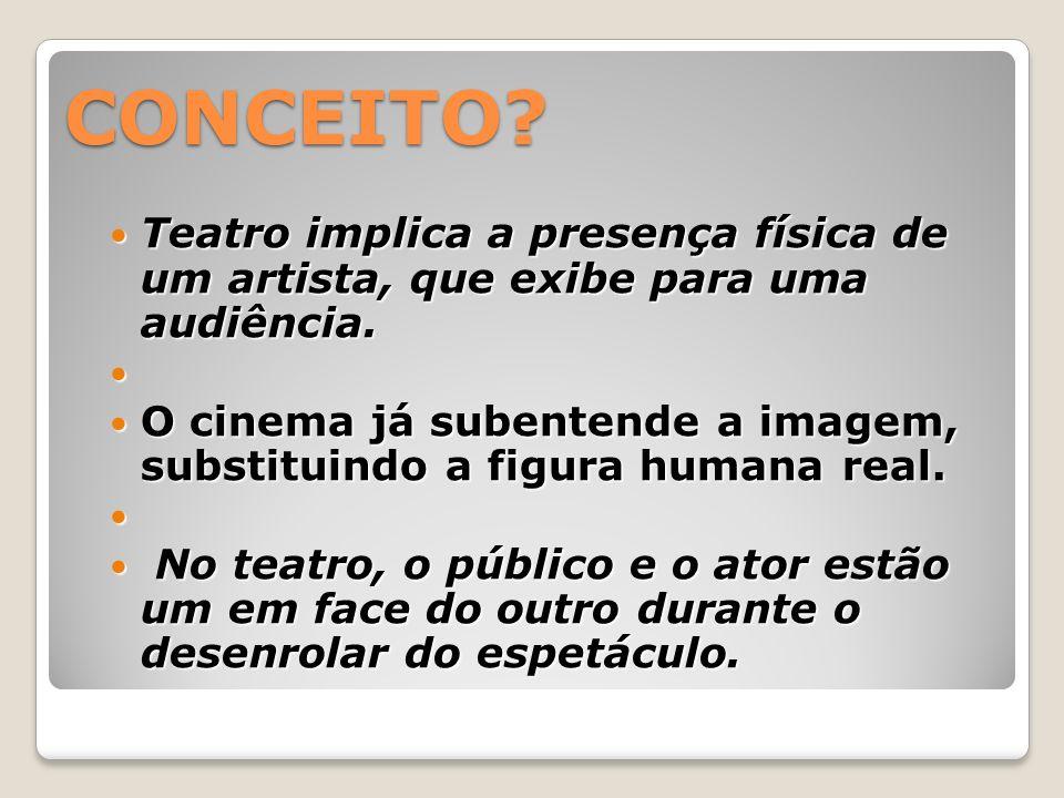 CONCEITO Teatro implica a presença física de um artista, que exibe para uma audiência.