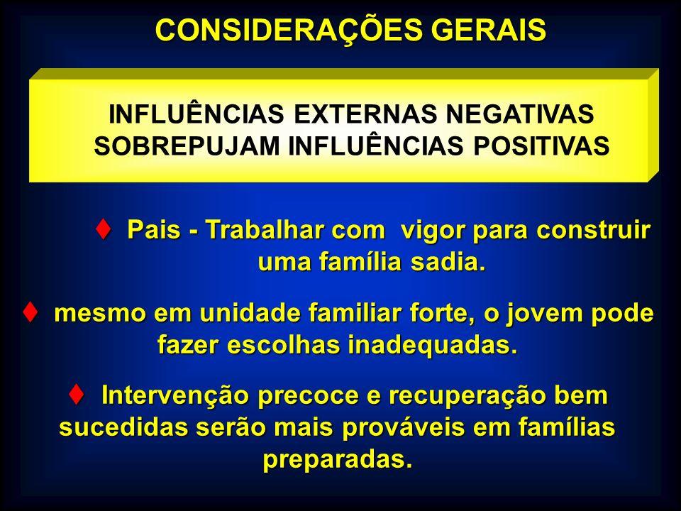 CONSIDERAÇÕES GERAIS INFLUÊNCIAS EXTERNAS NEGATIVAS SOBREPUJAM INFLUÊNCIAS POSITIVAS. Pais - Trabalhar com vigor para construir uma família sadia.