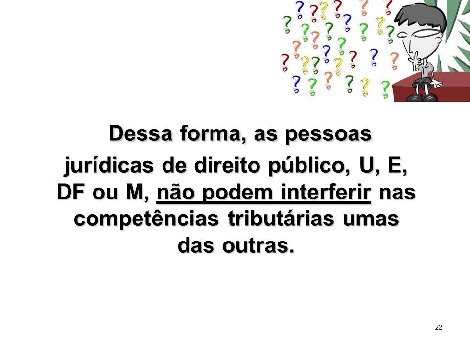 Dessa forma, as pessoas jurídicas de direito público, U, E, DF ou M, não podem interferir nas competências tributárias umas das outras.