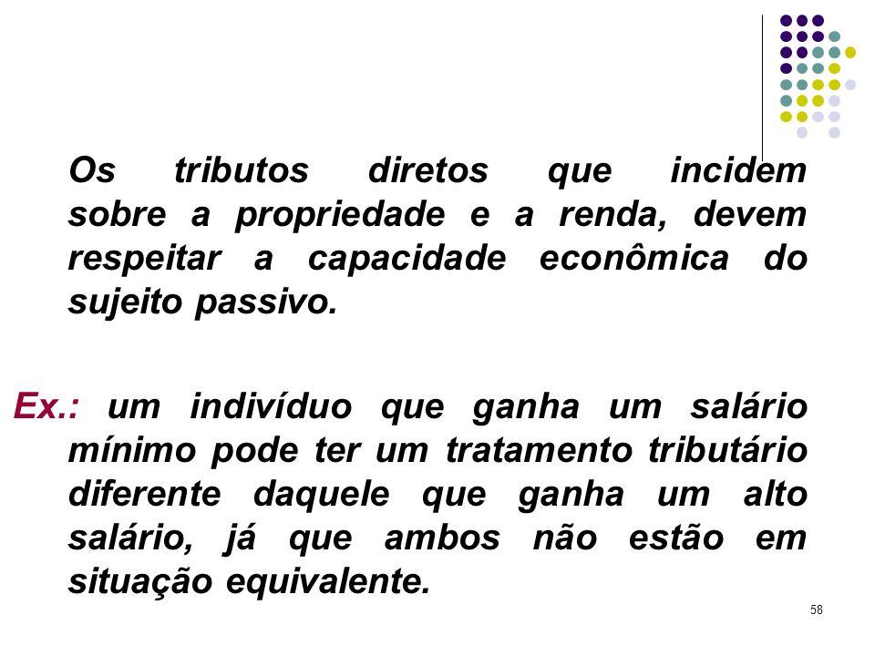 Os tributos diretos que incidem sobre a propriedade e a renda, devem respeitar a capacidade econômica do sujeito passivo.