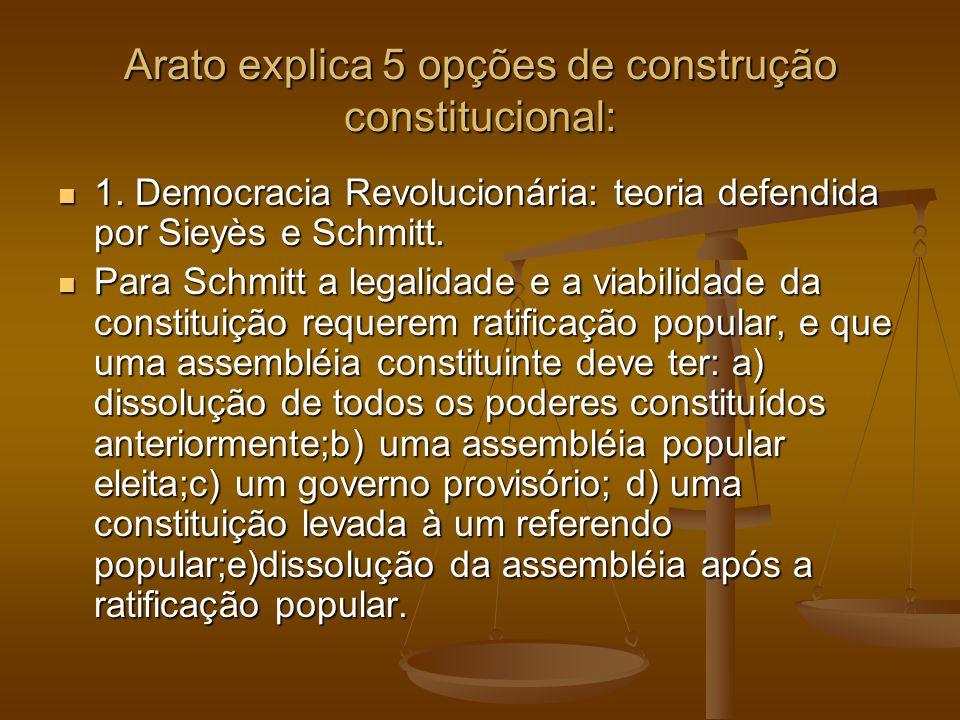 Arato explica 5 opções de construção constitucional: