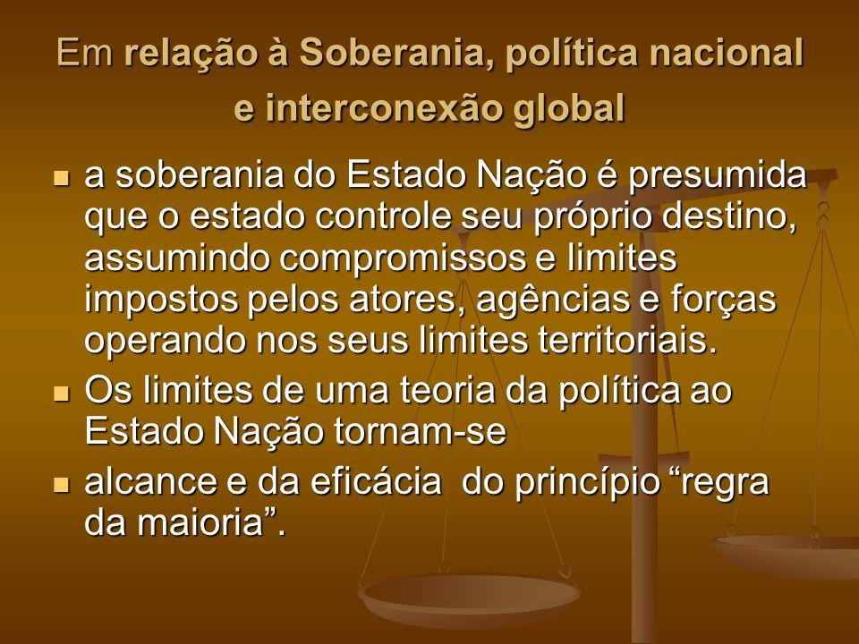 Em relação à Soberania, política nacional e interconexão global