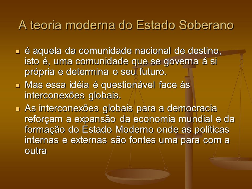 A teoria moderna do Estado Soberano