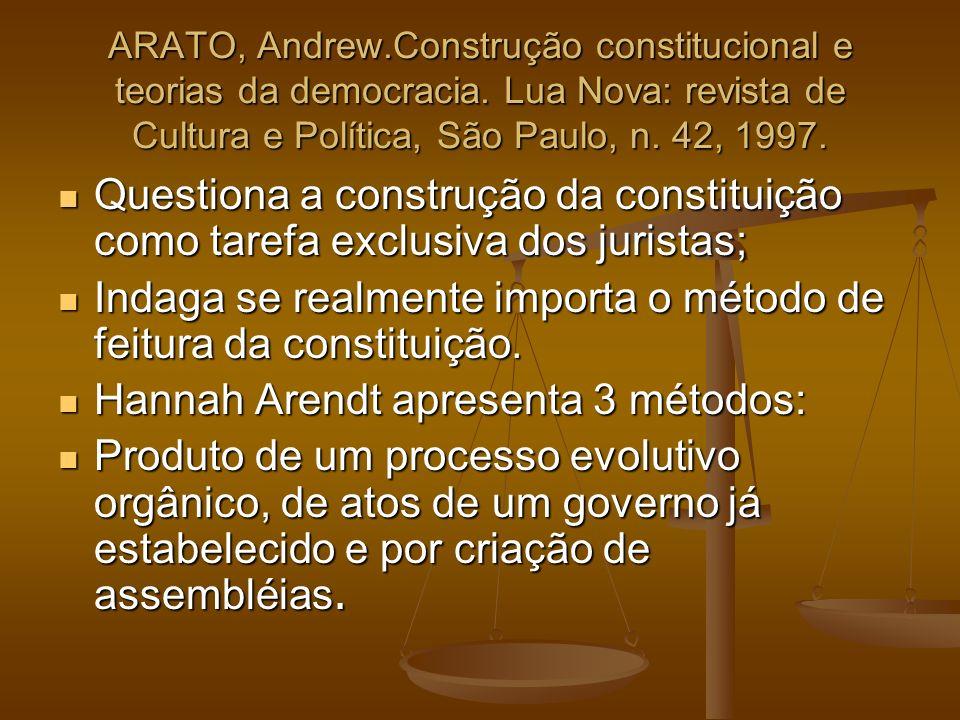 Indaga se realmente importa o método de feitura da constituição.