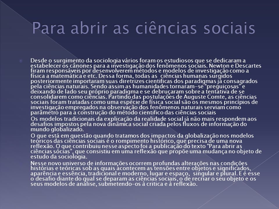 Para abrir as ciências sociais