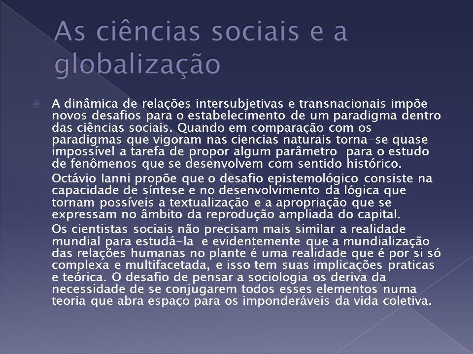 As ciências sociais e a globalização