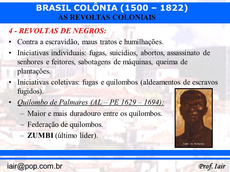 4 - REVOLTAS DE NEGROS: Contra a escravidão, maus tratos e humilhações.