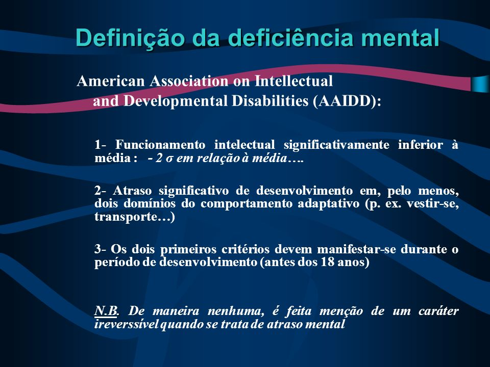 Definição da deficiência mental