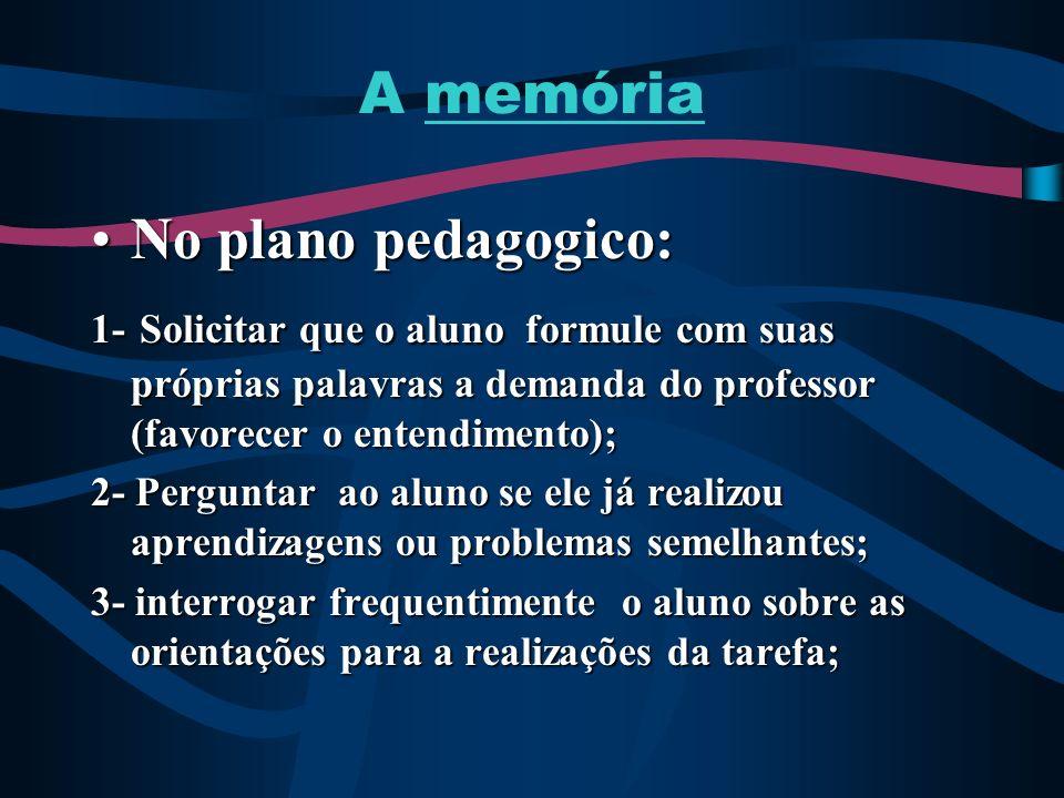 A memória No plano pedagogico: