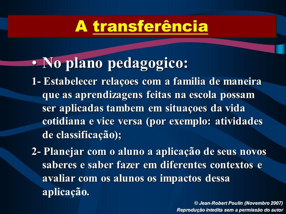A transferência No plano pedagogico: