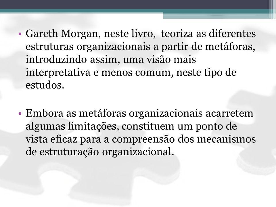 Gareth Morgan, neste livro, teoriza as diferentes estruturas organizacionais a partir de metáforas, introduzindo assim, uma visão mais interpretativa e menos comum, neste tipo de estudos.