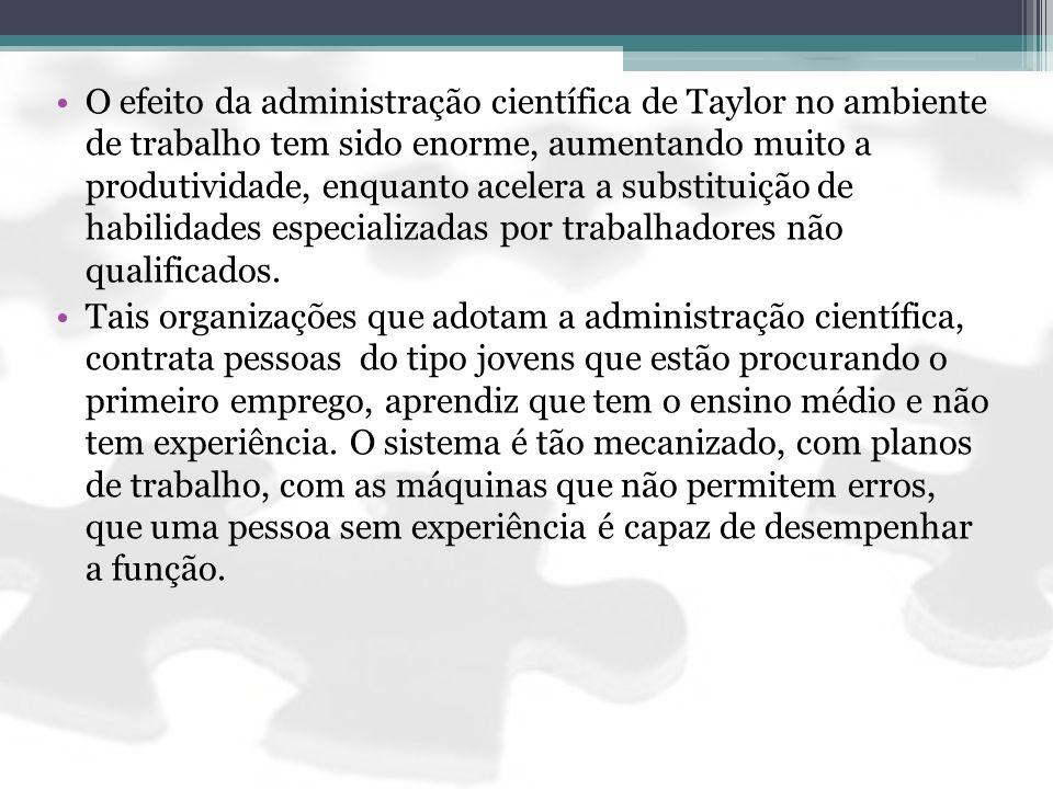 O efeito da administração científica de Taylor no ambiente de trabalho tem sido enorme, aumentando muito a produtividade, enquanto acelera a substituição de habilidades especializadas por trabalhadores não qualificados.