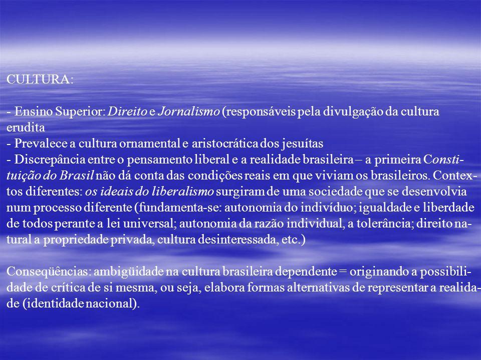 CULTURA: Ensino Superior: Direito e Jornalismo (responsáveis pela divulgação da cultura. erudita.