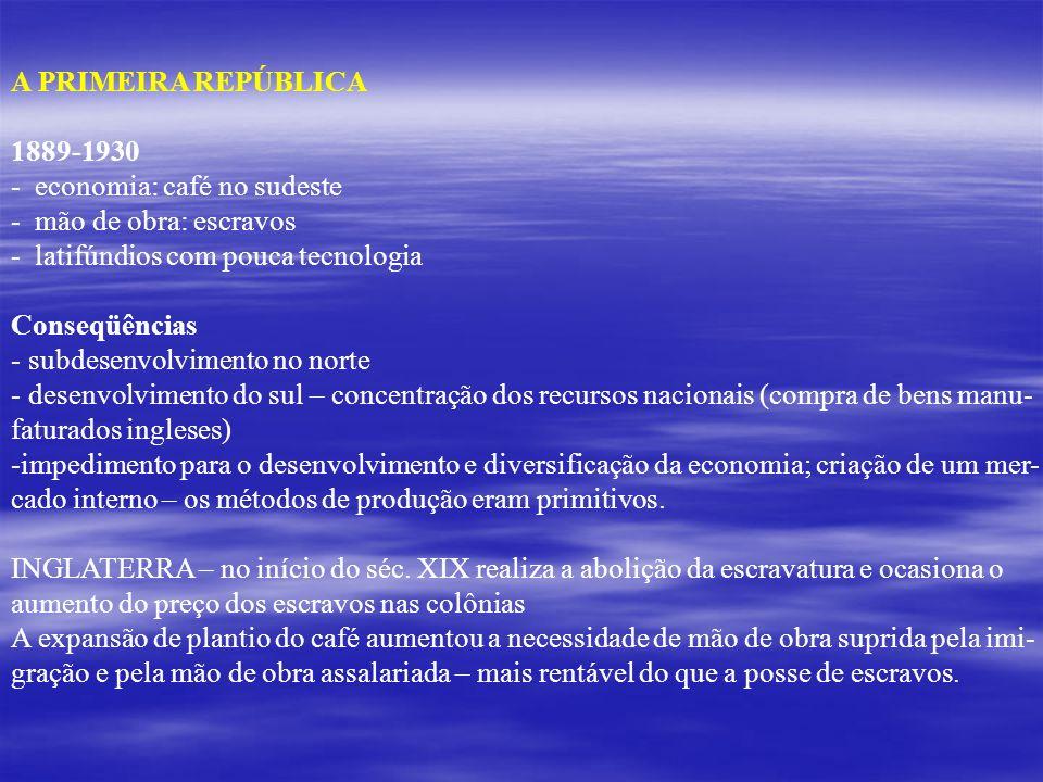 A PRIMEIRA REPÚBLICA 1889-1930. - economia: café no sudeste. mão de obra: escravos. latifúndios com pouca tecnologia.