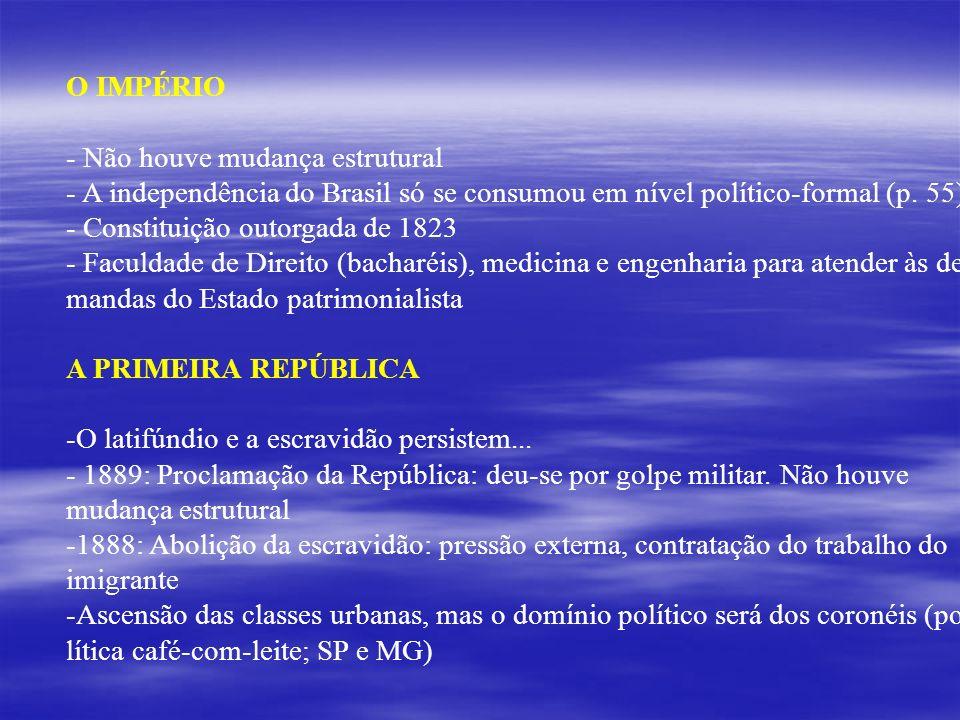 O IMPÉRIO Não houve mudança estrutural. A independência do Brasil só se consumou em nível político-formal (p. 55)