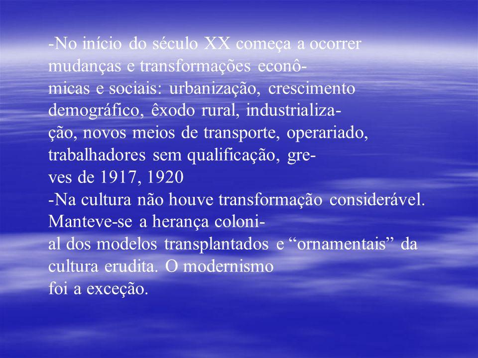 No início do século XX começa a ocorrer mudanças e transformações econô-
