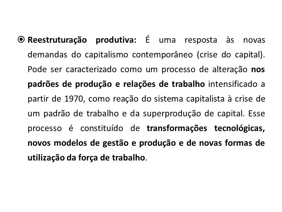 Reestruturação produtiva: É uma resposta às novas demandas do capitalismo contemporâneo (crise do capital).