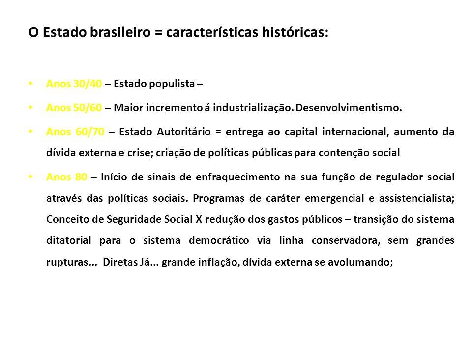O Estado brasileiro = características históricas: