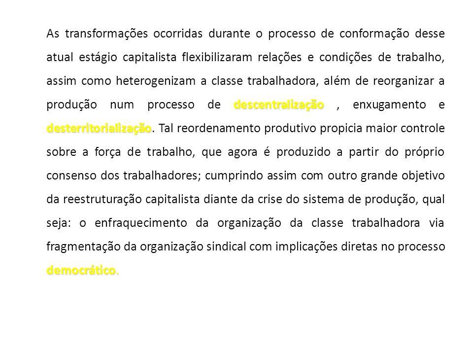 As transformações ocorridas durante o processo de conformação desse atual estágio capitalista flexibilizaram relações e condições de trabalho, assim como heterogenizam a classe trabalhadora, além de reorganizar a produção num processo de descentralização , enxugamento e desterritorialização.