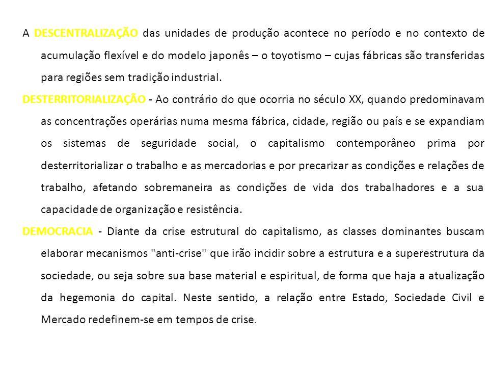 A DESCENTRALIZAÇÃO das unidades de produção acontece no período e no contexto de acumulação flexível e do modelo japonês – o toyotismo – cujas fábricas são transferidas para regiões sem tradição industrial.