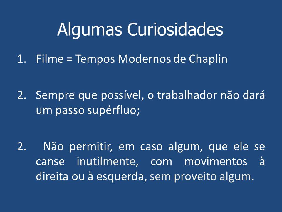 Algumas Curiosidades Filme = Tempos Modernos de Chaplin